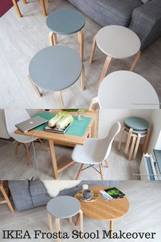 IKEA Frosta Stool makeover in Scandinavian colors