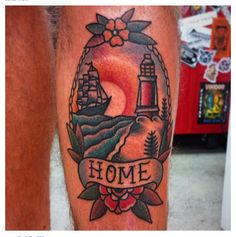 Traditional tattoo. Lighthouse and ship tattoo. Home. By @Mike Mendes