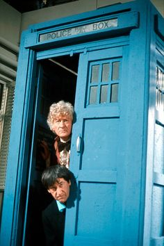 "Patrick Troughton and Jon Pertwee in ""The Three Doctors."""