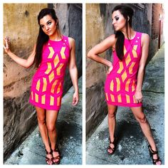 Pink & Orange Print Sleeveless Dress #partydress