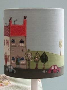 Lampshade with appliqued scene - for inspiration only