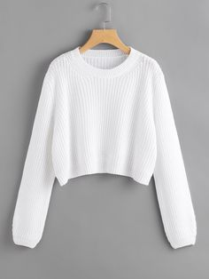 Long Sleeve Sweaters. Pullovers Designed with Round Neck. Regular fit. Plain design. Trend of Spring-2018, Fall-2018. Designed in White. Fabric has some stretch.
