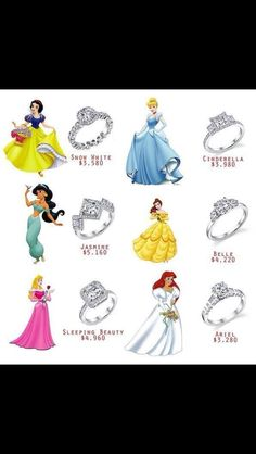 Disney inspired wedding rings. I like Cinderella & Sleeping Beauty