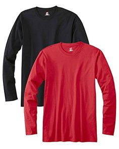 Hanes mens 4.5 oz. 100% Ringspun Cotton nano-T Long-Sleeve T-Shirt(498L)-BLACK/DEEP RED-L. 30's 100% ringspun cotton. contemporary fit. narrower ribbed collar without coverseaming. tag-free neck label. shoulder-to-shoulder tape.