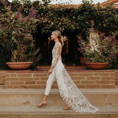 A perfect wedding rehearsal dinner outfit for brides is Rime Arodaky's white lac. - A perfect wedding rehearsal dinner outfit for brides is Rime Arodaky's white lace Patsy jumpsuit. Showing you bridal outfit inspiration photos for your wedding weekend. Wedding Rehearsal Outfit, Rehearsal Dinner Outfits, Rehearsal Dinners, Bridal Shower Bride Outfit, Wedding Shower Outfits, Bridal Shower Dresses, White Rehearsal Dress, Rehearsal Dinner Looks, Wedding Dinner Dress