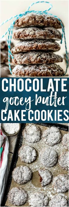 I love CHOCOLATE GOOEY BUTTER CAKE COOKIES! Being from St. Louis, we are big fans of gooey butter cake. It's even better when you add chocolate and make into cookie form! One of my favorite Christmas cookies! #cookies #christmas #chocolate #gooeybuttercake via @beckygallhardin