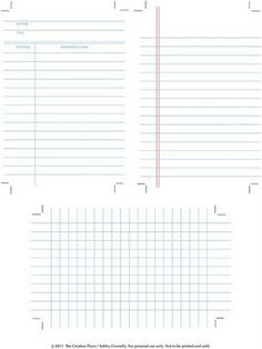 Printables for Project Life - library book card, lined paper, and graph paper (Kristy.Makes)