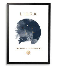 Libra Gold Foil Constellation Hororscope von WestEndGirlstudio