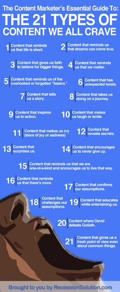The 21 Types of Content We All Crave - what is the context of the content you publish to your audience? http://evanandarica.wordpress.com/
