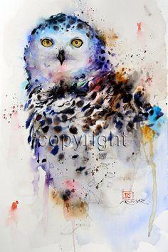 SNOWY OWL Large Watercolor Print by Dean Crouser door DeanCrouserArt