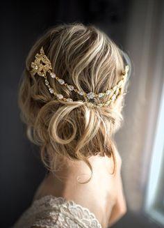 pretty gold & rhinestone hair chain with an updo | via http://emmalinebride.com/bride/bridal-hair-chain/
