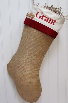 red  burlap craft | Burlap Christmas Stocking with red accents | Holiday Crafts & Decorat ...