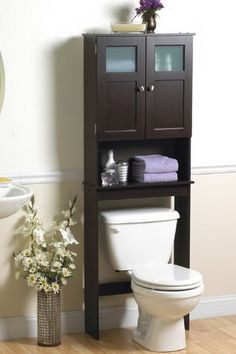 BATHROOM ORGANIZING SOLUTIONS - Wood Modern Frosted Glass Window Spacesaver