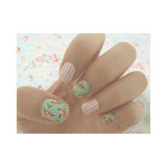 country cottage nails polish girly pink floral flowers green shabby chic girl diva art