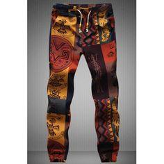 Narrow Feet Drawstring Gecko Pattern Print Men's Jogger Pants (COLORMIX,XL) in Pants | DressLily.com