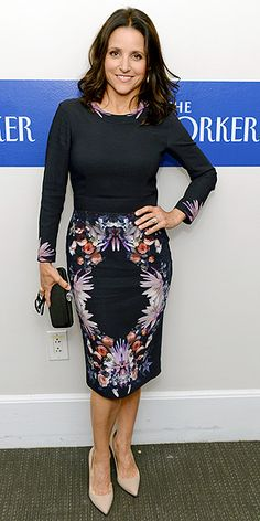 JULIA LOUIS-DREYFUS We're amazed anyone lets her loose in Washington, D.C. after her performance as gaffe-prone vice president Selina Meyer on Veep, but Julia looks to be on her best behavior at the New Yorker pre-WHCD bash.