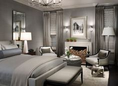 Picture perfect bedroom in gray combines style with understated elegance