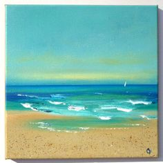 Beach painting, caribbean seascape 12x12 acrylic painting with turquoise colors and sailboat