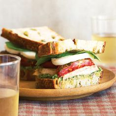Turkey Sandwiches with Roasted Romas Fresh Mozzarella and Arugula-Walnut Pesto