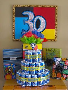 Miller Lite Cake - I am by NO MEANS promoting drinking, but this is a clever way to serve a non-dessert-eating husband cake on his 30th. birthday-ideas