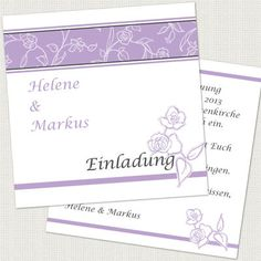 """Einladungskarten zur Hochzeit 12,5x12,5cm """"Helene"""" inkl. Druck & Umschläge € 25,50"""