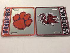 Clemson Tigers - SC Gamecocks House-Divided Football Mirror Car License Plate  #DiamondDecalz