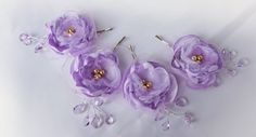 Wedding Fabric Flower Hair Pin Bridal Accessories Lilac Purple Lavender - pinned by pin4etsy.com