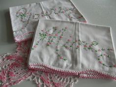 """Pineapple House Antiques ~ Vintage Embroidered """"Yours & Mine"""" Pillowcases with Pink Edging!"""