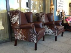 Leather & Nguni Hide Wingback chairs from www.hidesofafrica.com