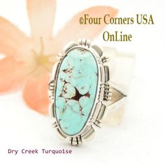 Four Corners USA Online - Size 6 3/4 Dry Creek Turquoise Sterling Ring Navajo Artisan Larry Moses Yazzie NAR-1689, $113.00 (http://stores.fourcornersusaonline.com/size-6-3-4-dry-creek-turquoise-sterling-ring-navajo-artisan-larry-moses-yazzie-nar-1689/)