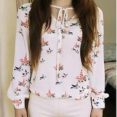 Imprimir floral elegante da Mulher Blusa V Neck Camisa Casual – BRL R$ 23,22