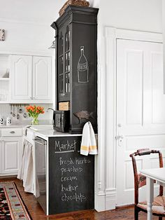 Use the end of a row of cabinets into a usable space! More ideas for small kitchens here: http://www.bhg.com/kitchen/small/custom-touches-for-small-kitchens/?socsrc=bhgpin081414usetheend&page=4