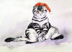 Original Handmade watercolor Cat Painting, Cat Lover Gift,  Affordable Gift, Wall Decor, Minimalist watercolour Cat, Kids Art Tuxedo Cat Art by ArtbyAashaa on Etsy
