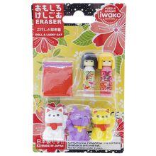 Iwako Japanese Eraser Kokeshi Dolls & Maneki Neko Fortune Lucky Cats 7 Pieces Set Japan Import Made in Japan