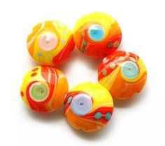 Bright yellow orange lampwork beads handmade glass by MayaHoney