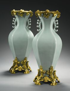 Pair of Louis XV gilt bronze mounted celadon glazed porcelain vases, China, Quing dynasty, beg. of 18th Cent, mounts attrib. to Jean-Claude Duplessis, France 1745-1750