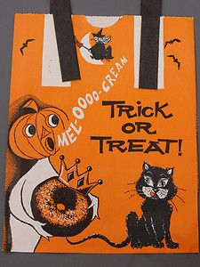 Vintage Halloween Candy Bag Mel O Cream Donuts Trick Or Treat Bag