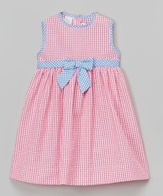 Take a look at this Pink Gingham Seersucker Dress - Infant, Toddler & Girls on zulily today!