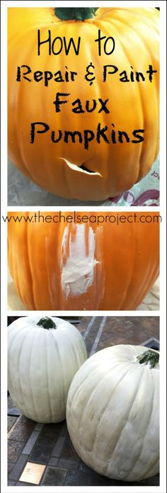 How to Repair and Paint Faux Pumpkins - The Chelsea Project Faux Pumpkins, Plastic Pumpkins, Halloween Pumpkins, Halloween Crafts, How To Paint Pumpkins, Painted Pumpkins, Halloween Ideas, Halloween Decorations, Halloween Party