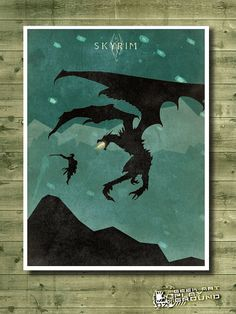 SKYRIM - Minimalist video game posters inspired by The Elder Scrolls on Etsy, $5.10
