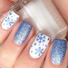 ❄️S T U N N I N G❄️ Thank you @Melcisme for making such a pretty manicure using our snowflake vinyls!  - Snowflake #NailVinyls snailvinyls.com Nail Design, Nail Art, Nail Salon, Irvine, Newport Beach