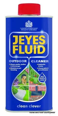 Jeyes Fluid Can be used for a multitude of outdoor cleaning tasks from neutralising odours and killing bacteria in and around drains to disinfecting after pet fouling.