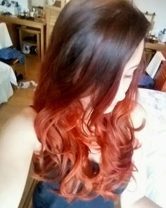 Red-Brown into Bright Red Ombré with Red Orange highlights