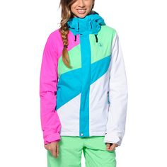 Equip yourself with standout style and tech this Winter with the Slogan 10K insulated snowboard jacket from Volcom Girls. Coming in a Teal, Pink, White and Green colorway, the Volcom Slogan jacket is built with a warm insulation and V-Science technology to keep you shredding longer on the hill tops.