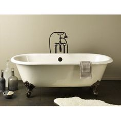 "CheviotProducts Regal 68"" x 31"" Soaking Bathtub with Flat Area For Faucet Holes Color: Biscuit Interior with Custom Colour Exterior, Feet Finish: B..."
