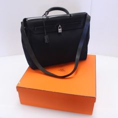 Hermes HERMES Signature Leather Crossbody HERBAG Canvas Large GM Size with Replacement Cover Birkin Kelly 40 35