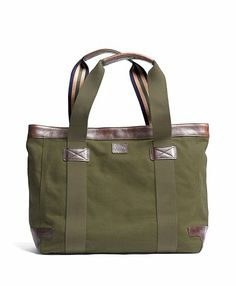 Washed Canvas and Leather Tote - Brooks Brothers