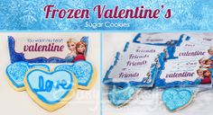 Frozen - Icy blue sugar cookie hearts for Valentine's Day. Olaf labels for the boys and Ana/Elsa labels for the girls.