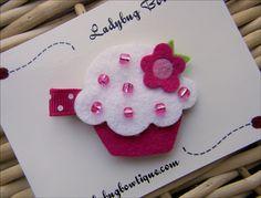 Cupcake Cutie Wool Felt Hair Clip by LadybugBowtique on Etsy, $4.99...sweet