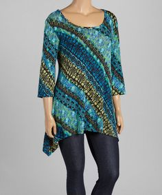 Love this Teal & Blue Abstract Sidetail Top - Plus on #zulily! #zulilyfinds